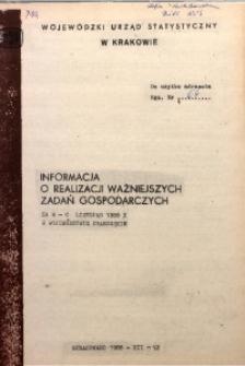 Informacja o realizacji ważniejszych zadań gospodarczych za m-c listopad 1988 r. w województwie miejskim krakowskim