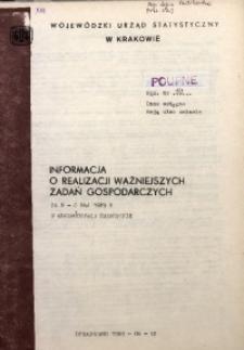Informacja o realizacji ważniejszych zadań gospodarczych za m-c maj 1989 r. w województwie miejskim krakowskim