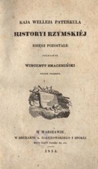 Kaja Welleja Paterkula historyi rzymskiej księgi pozostałe