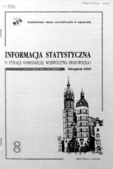 Informacja statystyczna o sytuacji gospodarczej województwa krakowskiego za sierpień 1995