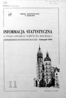 Informacja statystyczna o sytuacji gospodarczej województwa krakowskiego za listopad 1995