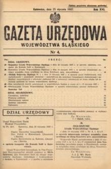 Gazeta Urzędowa Województwa Śląskiego, 1937, R. 16, nr 4