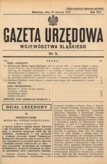 Gazeta Urzędowa Województwa Śląskiego, 1937, R. 16, nr 5