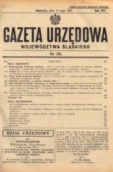Gazeta Urzędowa Województwa Śląskiego, 1937, R. 16, nr 20