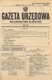 Gazeta Urzędowa Województwa Śląskiego, 1937, R. 16, nr 27