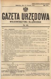 Gazeta Urzędowa Województwa Śląskiego, 1937, R. 16, nr 46