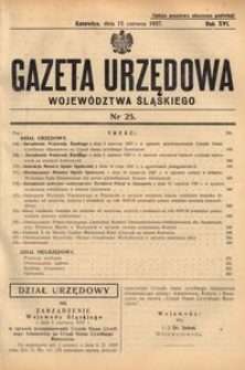 Gazeta Urzędowa Województwa Śląskiego, 1937, R. 16, nr 25
