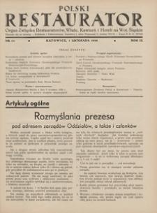 Polski Restaurator, 1938, R. 9, nr 11