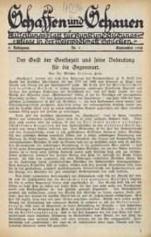 Schaffen und Schauen, 1932, Jg. 9, Nr. 1