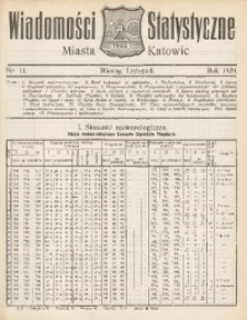Wiadomości Statystyczne Miasta Katowic, 1929, nr 11
