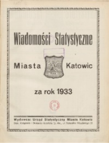 Wiadomości Statystyczne Miasta Katowic, 1933, nr 1
