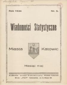 Wiadomości Statystyczne Miasta Katowic, 1934, nr 5