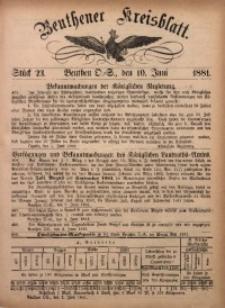 Beuthener Kreisbatt, 1881, St. 23