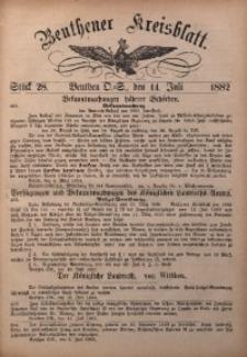 Beuthener Kreisbatt, 1882, St. 28