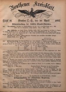 Beuthener Kreisbatt, 1883, St. 16