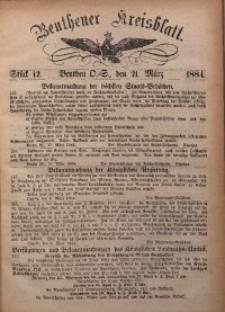 Beuthener Kreisbatt, 1884, St. 12