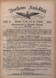 Beuthener Kreisbatt, 1884, St. 44