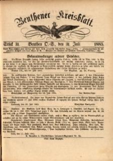 Beuthener Kreisbatt, 1885, St. 31