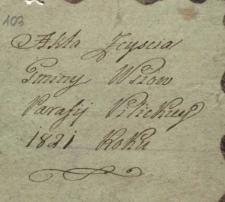 Księga zgonów Pilica – wieś 1821