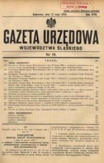 Gazeta Urzędowa Województwa Śląskiego, 1938, R. 17, nr 18