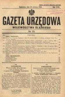 Gazeta Urzędowa Województwa Śląskiego, 1938, R. 17, nr 23