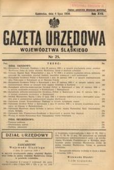 Gazeta Urzędowa Województwa Śląskiego, 1938, R. 17, nr 25