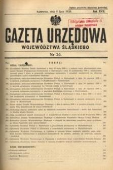 Gazeta Urzędowa Województwa Śląskiego, 1938, R. 17, nr 26
