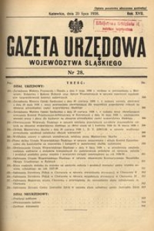 Gazeta Urzędowa Województwa Śląskiego, 1938, R. 17, nr 28