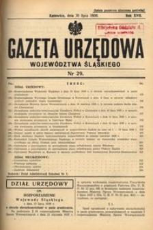 Gazeta Urzędowa Województwa Śląskiego, 1938, R. 17, nr 29