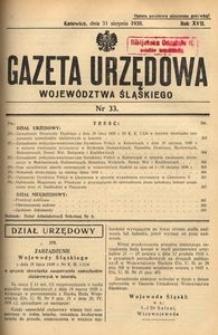 Gazeta Urzędowa Województwa Śląskiego, 1938, R. 17, nr 33