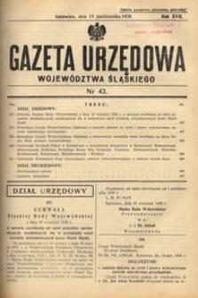 Gazeta Urzędowa Województwa Śląskiego, 1938, R. 17, nr 42