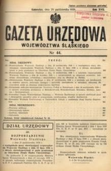 Gazeta Urzędowa Województwa Śląskiego, 1938, R. 17, nr 44