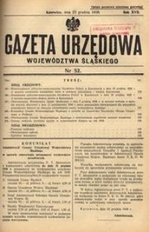 Gazeta Urzędowa Województwa Śląskiego, 1938, R. 17, nr 52
