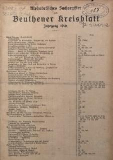 Alphabetisches Sachregister zum Beuthener Kreisblatt. Jahrgang 1919