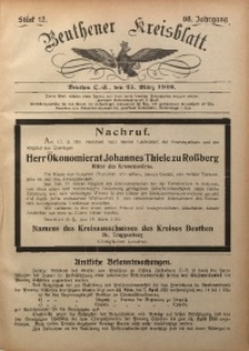 Beuthener Kreisblatt, 1910, Jg. 68, St. 12