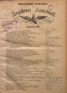 Alphabetisches Sachregister zum Beuthener Kreisblatt. Jahrgang 1916
