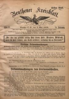 Beuthener Kreisblatt, 1916, Jg. 74, St. 18