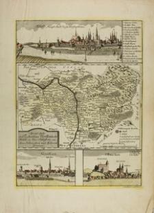 Mapa księstwa nyskiego z panoramami Nysy, Grodkowa i Otmuchowa