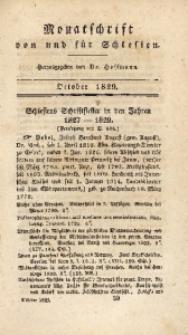 Monatschrift von und für Schlesien, 1829, October