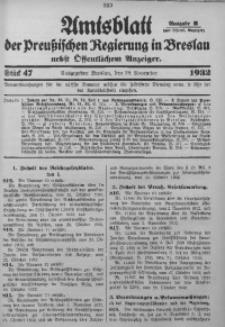 Amtsblatt der Preußischen Regierung in Breslau, 1932, Bd. 123, St. 47