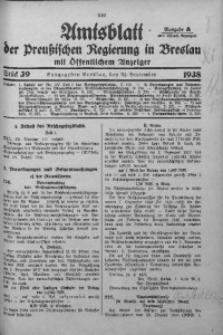 Amtsblatt der Preußischen Regierung in Breslau, 1938, Bd. 129, St. 39