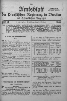 Amtsblatt der Preußischen Regierung in Breslau, 1938, Bd. 129, St. 41