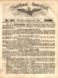 Beuthner Kreisblatt, 1860, No. 14