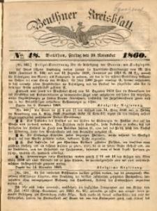 Beuthner Kreisblatt, 1860, No. 48