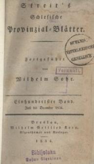 Schlesische Provinzialblätter, 1834, 100. Bd., 7/12. St.: Juli/December