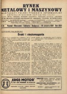 Rynek Metalowy i Maszynowy, 1938, R.18, nr 34