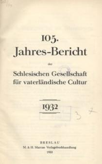 Jahres-Bericht der Schlesischen Gesellschaft für vaterlandische Cultur. 1932