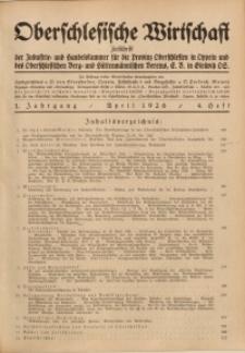 Oberschlesische Wirtschaft, 1926, Jg. 1, H. 4