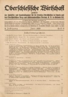 Oberschlesische Wirtschaft, 1929, Jg. 4, H. 6