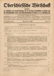 Oberschlesische Wirtschaft, 1929, Jg. 4, H. 8
